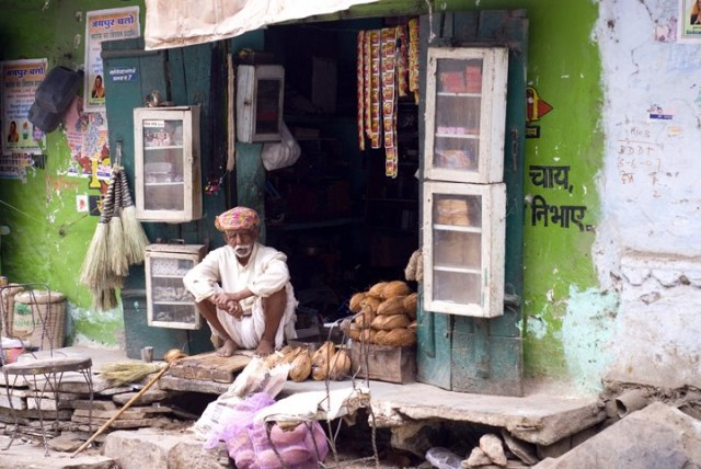 Shop keeper man in Udaipur, Rajasthan India Stock Photography